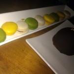 Macarons: lemon-raspberry, vanilla-salted caramel, pistachio-apricot